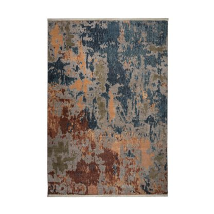 An Image of Ivy Abstract Rug Blue, Brown and Yellow