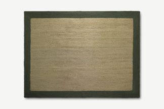 An Image of Granico Jute Border Rug, Large 160 x 230cm, Natural & Green
