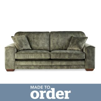 An Image of Morello 3 Seater Sofa Slub Velvet Slub Velvet Forest Green