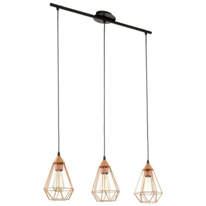 An Image of Eglo Tarbes 3 Light Pendant - Copper