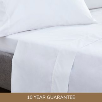 An Image of Dorma Egyptian Cotton 400 Thread Count Percale Flat Sheet White