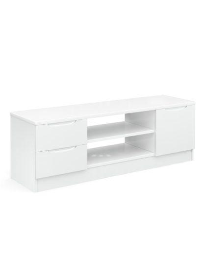 An Image of Legato Gloss 1 Door 2 Drawer TV Unit - White