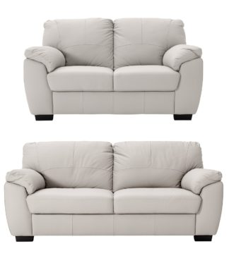 An Image of Argos Home Milano Leather 2 & 3 Seater Sofas - Light Grey