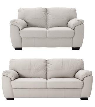 An Image of Argos Home Milano Leather 2 & 3 Seater Sofas - Light Grey