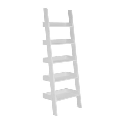 An Image of Lynton White Ladder Bookcase White