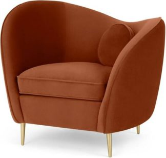 An Image of Kooper Accent Armchair, Nutmeg Orange Velvet