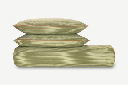 An Image of Souzo Cotton Duvet Cover + 2 Pillowcases, King, Sage Green