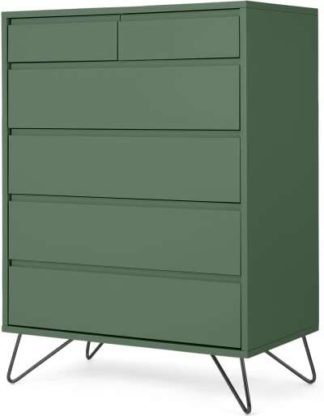 An Image of Elona Tall Multi Chest of Drawers, Fern Green & Black