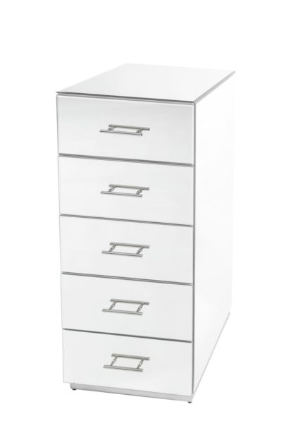 An Image of Harper Mirrored Tallboy – Silver Details