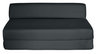 An Image of Habitat Small Double Fabric Chair Bed - Jet Black