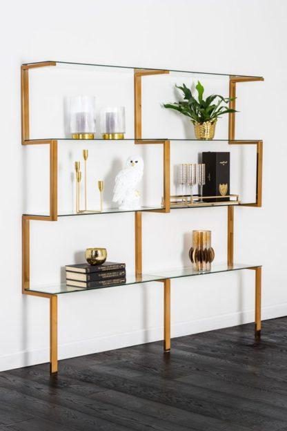 An Image of Miko Double Shelf Unit Brass