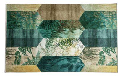 An Image of Habitat Jalpar Eden Leaf Tile Rug - 120x170cm - Green