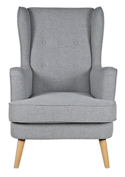 An Image of Habitat Callie Fabric Wingback Chair- Light Grey