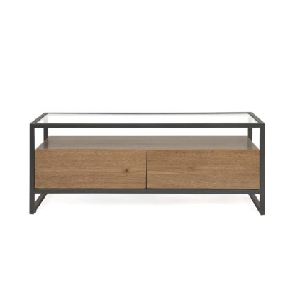 An Image of Dillon TV Stand Oak Brown and Grey