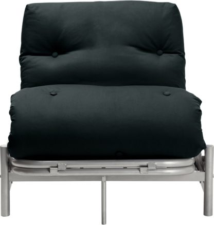 An Image of Argos Home Single Futon Metal Sofa Bed with Mattress - Black