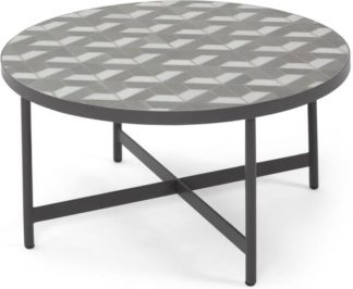 An Image of Indra Garden Coffee Table, Grey and White Marble