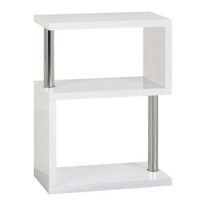 An Image of Charisma 3 Shelf High Gloss White Bookcase White