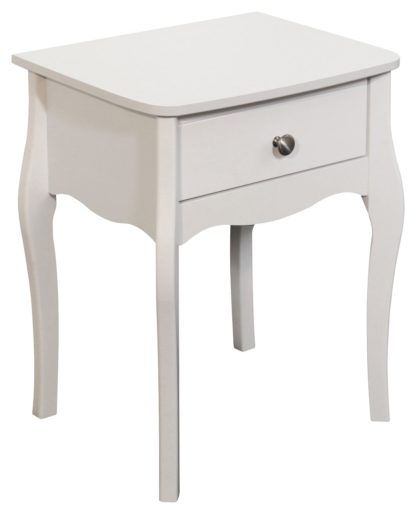 An Image of Amelie 1 Drawer Bedside Table - White