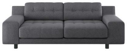 An Image of Habitat Hendricks 3 Seater Fabric Sofa - Charcoal