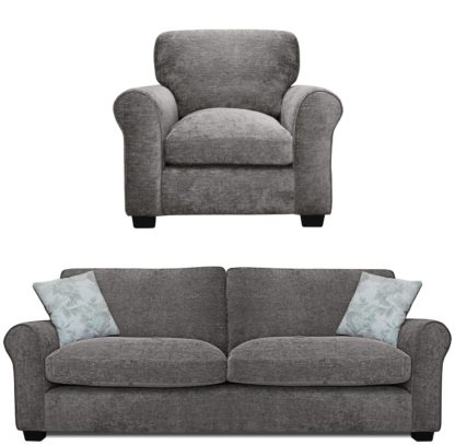 An Image of Argos Home Tammy Fabric Chair and 4 Seater Sofa - Charcoal