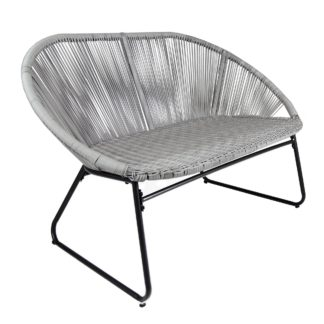 An Image of Bali 2 Seater Grey Bench Grey