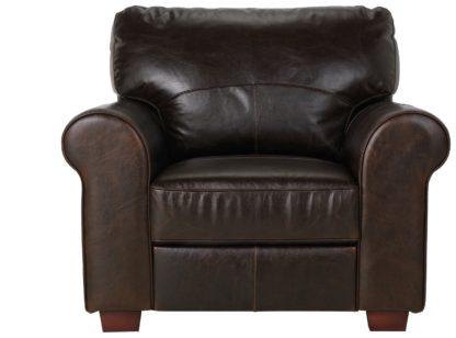 An Image of Habitat Salisbury Leather Armchair - Dark Brown