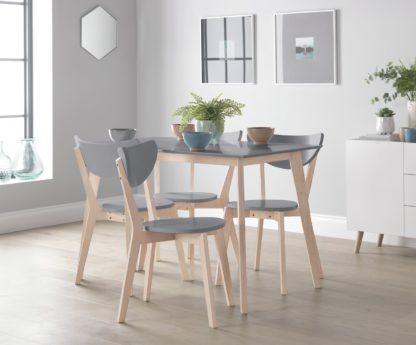 An Image of Habitat Harlow Dining Table & 4 Chairs - Grey