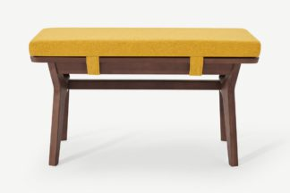 An Image of Jenson End-of-Table Dining Bench, Yellow & Dark Stain Oak