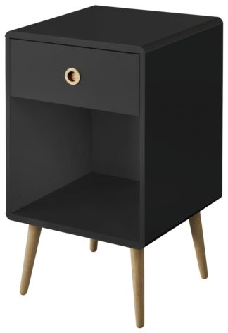 An Image of Softline 1 Drawer Bedside Table - Black