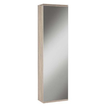 An Image of Monale Mirrored Shoe Storage Cabinet In Brushed Oak