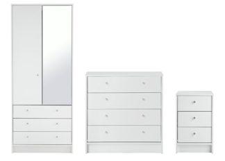 An Image of Habitat Malibu 3 Piece 2 Door Mirror Wardrobe Set - White