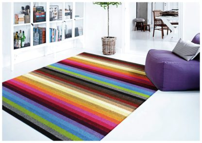 An Image of Linea Stripe Washable Runner - 200 x 66cm - Rainbow.
