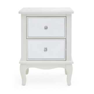 An Image of Palais Mirrored Ivory 2 Drawer Bedside Table Cream