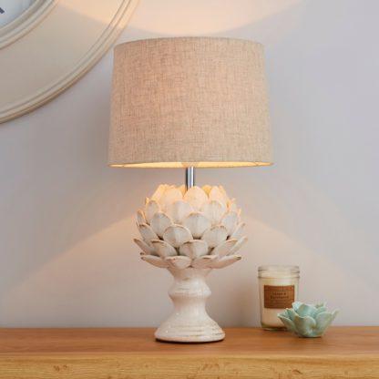 An Image of Dorma Brimstage Cream Artichoke and Linen Shade Table Lamp Cream