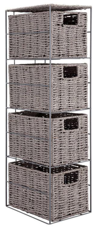 An Image of Argos Home Slimline Tall Storage Cabinet - Grey