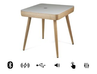 An Image of Koble Carl wooden wireless charging Bluetooth Side Table
