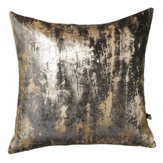 An Image of Abstract Grey Feather Filled Cushion With Metallic Detailing - Barker & Stonehouse