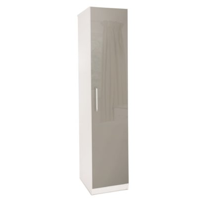 An Image of Bayswater 1 Door Wardrobe White and Grey