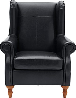 An Image of Argos Home Argyll Leather High Back Chair - Black