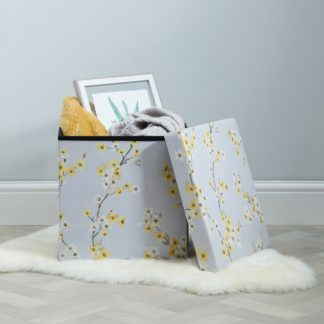 An Image of Alisha Floral Foldable Cube Ottoman Blue, Yellow and White