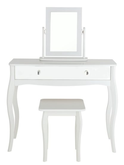 An Image of Argos Home Amelie Mirror Dressing Table Set - White