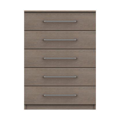An Image of Parker Beige 5 Drawer Chest Dark Wood (Brown)