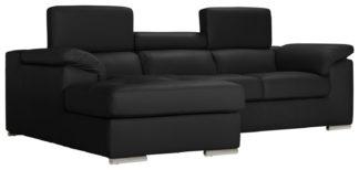 An Image of Argos Home Valencia Left Corner Leather Sofa - Black
