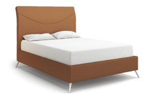 An Image of MiBed Seattle Fabric Double Bed Frame - Orange