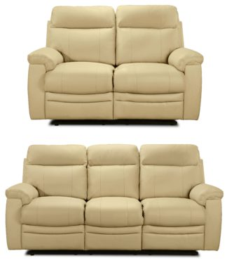An Image of Argos Home Paolo 2 & 3 Seater Manual Recliner Sofas - Ivory