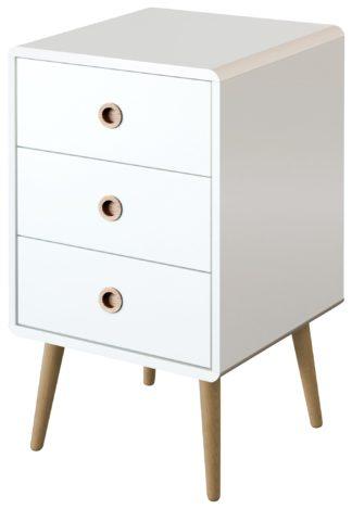 An Image of Softline 3 Drawer Bedside Table - White