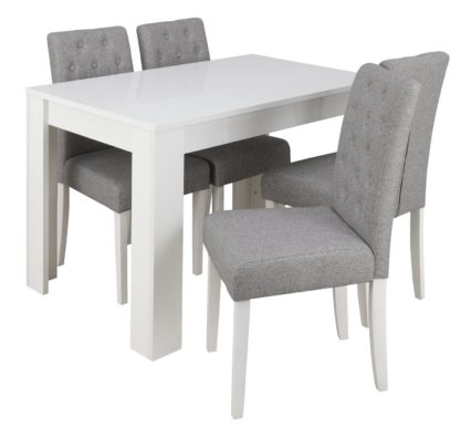 An Image of Habitat Miami Gloss Dining Table & 4 Button Chairs - Grey