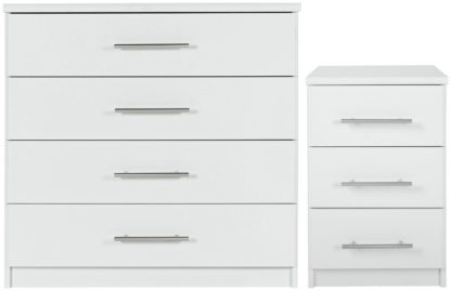 An Image of Argos Home Normandy Bedside & 4 Drawer Chest Set - White
