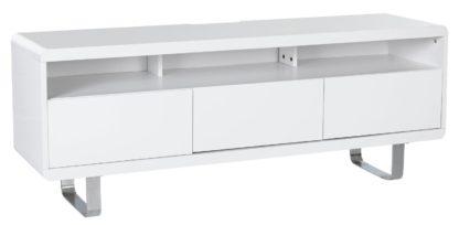 An Image of Habitat Sleigh 2 Door 1 Drawer TV Unit - White Gloss