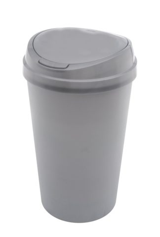 An Image of Curver 45 Litre Touch Top Kitchen Bin - Silver